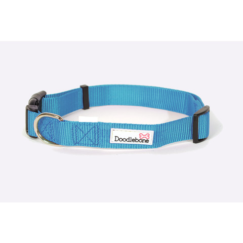 Doodlebone Cyan Blue Adjustable Dog Collar Medium