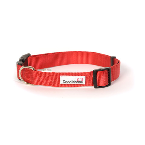 Doodlebone Red Adjustable Dog Collar X Small