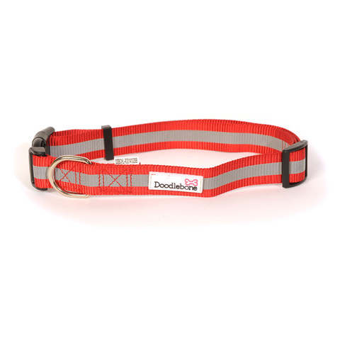 Doodlebone Red Reflective Adjustable Dog Collar Medium