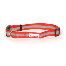 Doodlebone Red Reflective Adjustable Dog Collar Large