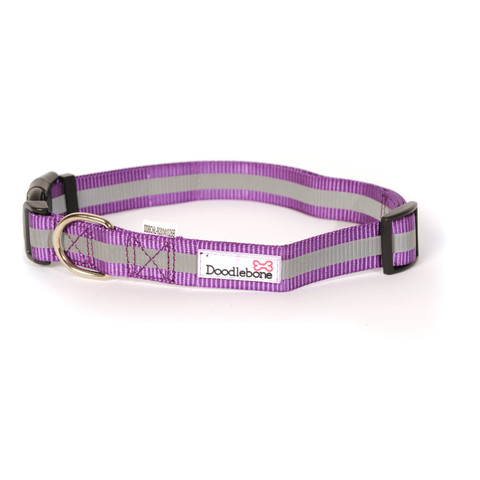 Doodlebone Purple Reflective Adjustable Dog Collar Large