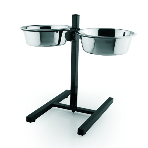(d) Adjustable Height Stainless Steel Double Diner Dog Bowls And Stand Large