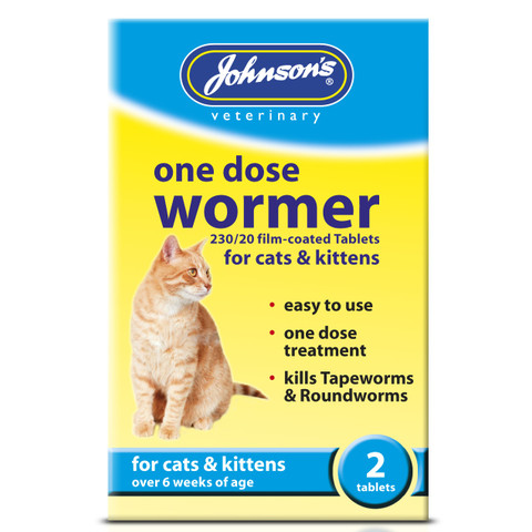 Johnsons One Dose Wormer For Cats And Kittens 2 Pack