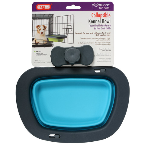Dexas Popware For Pets Collapsible Crate Blue Bowl Large