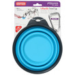 Dexas Popware For Pets Collapsible Blue Travel Bowl With Carabiner Large
