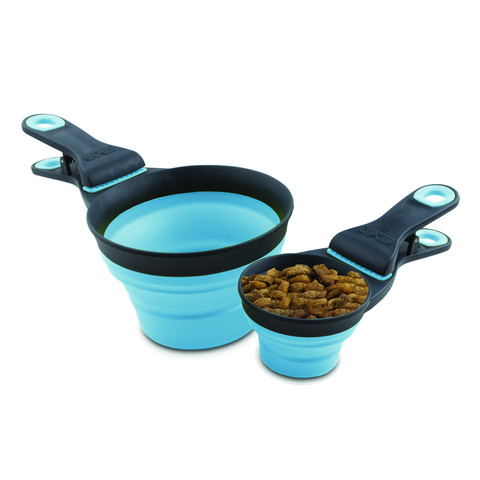 Dexas Popware For Pets Blue Collapsible Klipscoop 3 In 1 Food Scoop Measure And Bag Clip Small