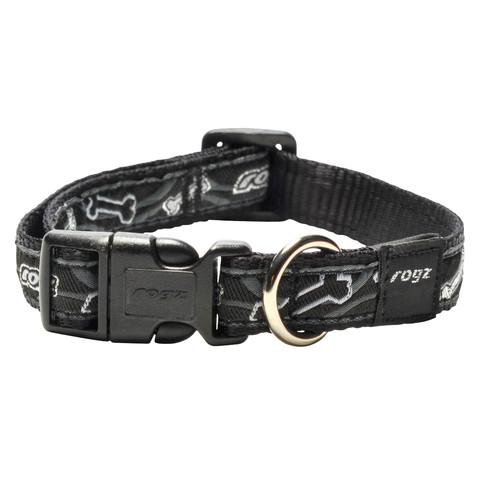 Rogz Black Bones Buckle Adjustable Dog Collar Medium