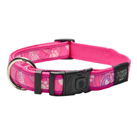 Rogz Pink Paws Buckle Adjustable Dog Collar X Large