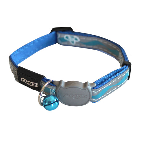 Rogz Blue Night Cat Breakaway Buckle Adjustable Cat Collar