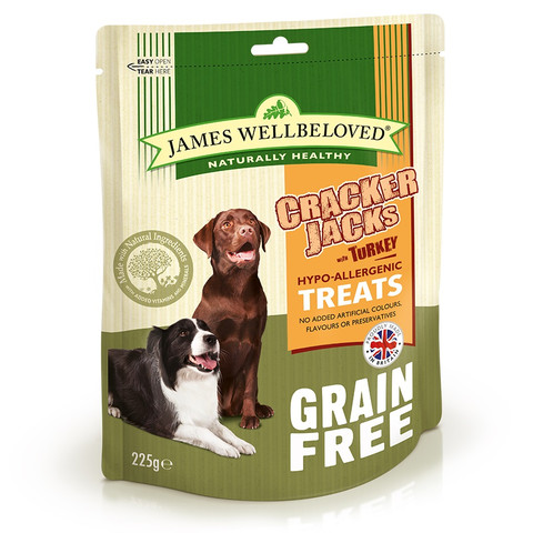 James Wellbeloved Turkey Grain Free Crackerjacks Dog Treats 6 X 225g
