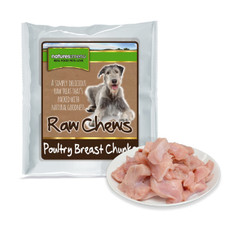 Natures Menu Frozen Raw Breast Meat Chunks For Dogs 1kg