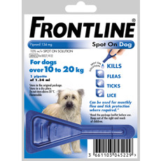 Frontline Spot On Flea Drops For Medium Dogs And Puppies (10-20kg) 1 Pipette