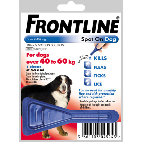 Frontline Spot On Flea Drops For Extra Large Breed Dogs And Puppies (40-60kg) 1 Pipette