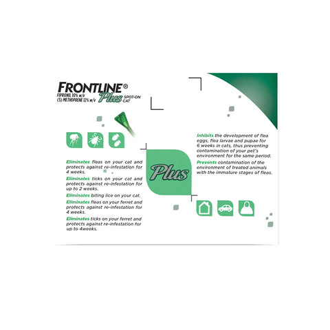 Frontline Plus Spot On Flea Drops For Cats, Kittens And Ferrets 3 Pipette