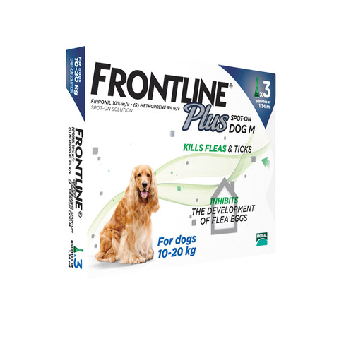 Frontline Plus Spot On Flea Drops For Medium Dogs And Puppies (10-20kg) 3 Pipette