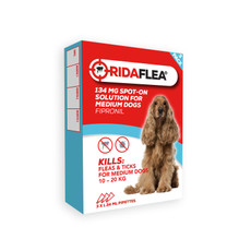 Ridaflea Spot-on Solution Dog 134mg For Medium Dogs And Puppies 10-20kg 3 Pipette