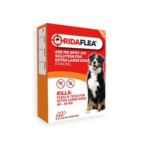 Ridaflea Spot-on Solution Dog 402mg For Large Dogs And Puppies 40-60kg 3 Pipette