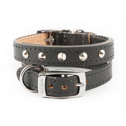 Ancol Heritage Diamond Leather Black Studded Buckle Dog Collar X Small