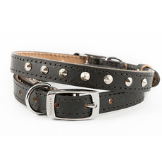 Ancol Heritage Diamond Leather Black Studded Buckle Dog Collar Small