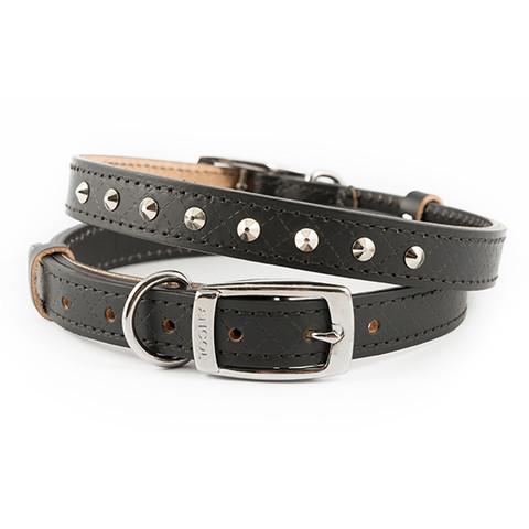Ancol Heritage Diamond Leather Black Studded Buckle Dog Collar Medium
