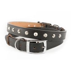 Ancol Heritage Diamond Leather Black Studded Buckle Dog Collar Large