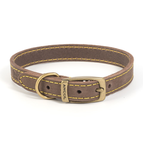 Ancol Heritage Timberwolf Leather Sable Buckle Dog Collar X Small