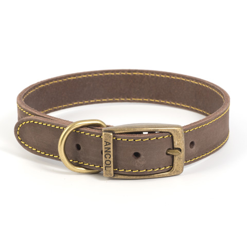 Ancol Heritage Timberwolf Leather Sable Buckle Dog Collar Medium