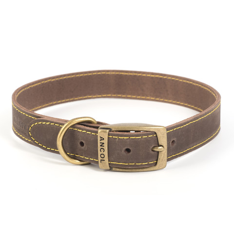 Ancol Heritage Timberwolf Leather Sable Buckle Dog Collar Large