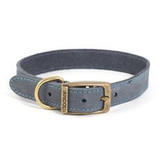 Ancol Heritage Timberwolf Leather Blue Buckle Dog Collar Medium