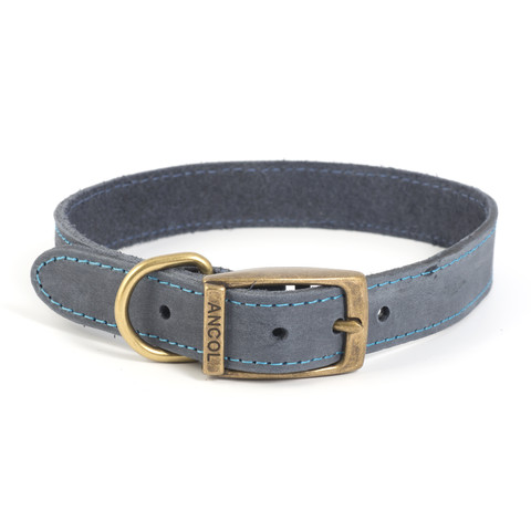 Ancol Heritage Timberwolf Leather Blue Buckle Dog Collar Medium