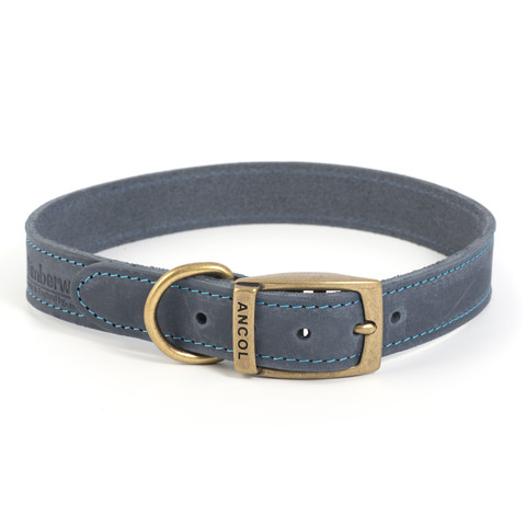 Ancol Heritage Timberwolf Leather Blue Buckle Dog Collar Large