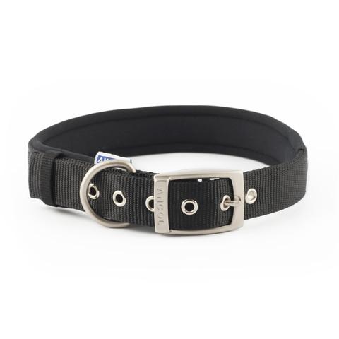 Ancol Heritage Padded Nylon Black Buckle Dog Collar Medium