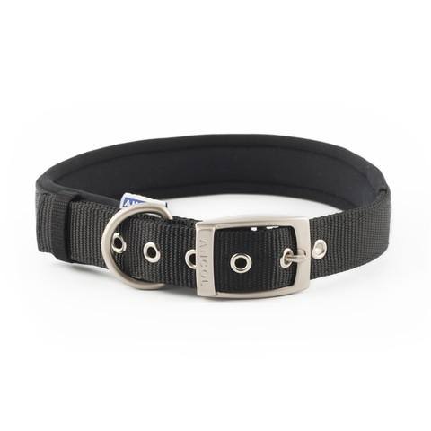 Ancol Heritage Padded Nylon Black Buckle Dog Collar Large
