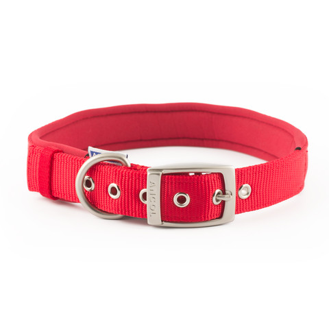 Ancol Heritage Padded Nylon Red Buckle Dog Collar Large