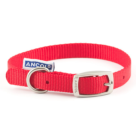 Ancol Heritage Nylon Red Buckle Dog Collar Small