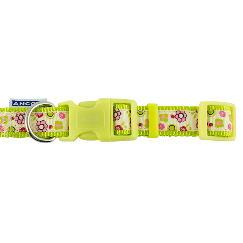 Ancol Indulgence Fashion Lime Flowers Adjustable Dog Collar Small