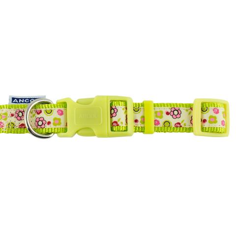 Ancol Indulgence Fashion Lime Flowers Adjustable Dog Collar Large