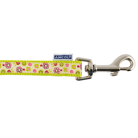Ancol Indulgence Fashion Lime Flowers Dog Lead 1m X 19mm