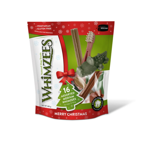 Whimzees Christmas Assorted Variety Value Pack Dental Treats For Medium Dogs