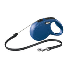 Flexi Classic Retractable Cord Dog Lead Blue - 8 Metres Small To Medium