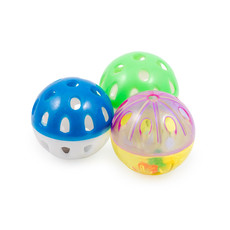 Ancol Acticat Plastic Ball Cat Toys 3 Pack To 6 X 3 Pack