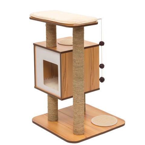 Vesper V-base White Walnut Cat Furniture And Activity Centre
