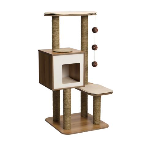 Vesper V-high Base White Walnut Cat Furniture And Activity Centre