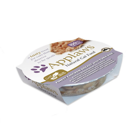 Applaws Natural Cat Food Pots With Chicken Breast And Tuna Roe In Broth 10 X 60g