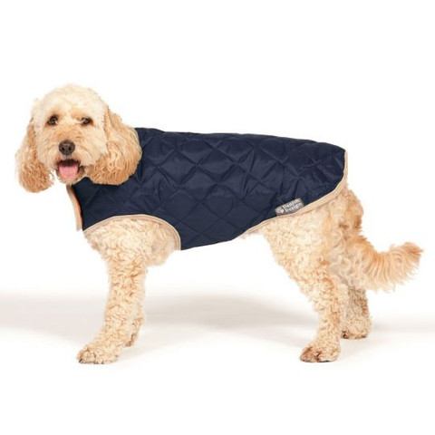 Danish Design Quilted Navy Blue Dog Coat 20in