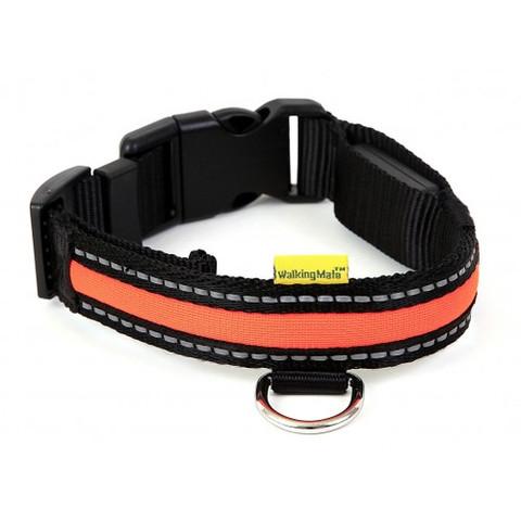 Walkingmate Led Orange High Visibility Adjustable Dog Collar Small