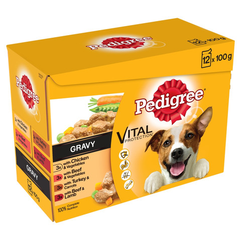 Pedigree Adult Dog Pouches Mixed Varieties In Gravy 12x100g To 4 X 12x100g