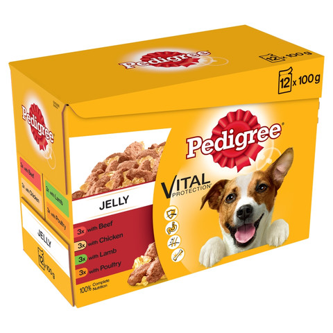 Pedigree Adult Dog Pouches Mixed Varieties In Jelly 12x100g To 4 X 12x100g