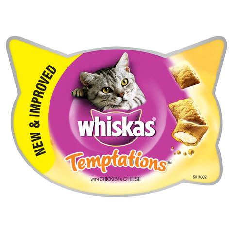 Whiskas Temptations Cat Treats With Chicken & Cheese 60g To 8 X 60g