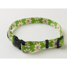 Yellow Dog Design Floral Green Daisy Adjustable Dog Collar X Small To Large